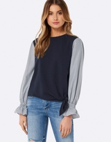Forever New Wanda Woven Sleeve Tie Front Jumper