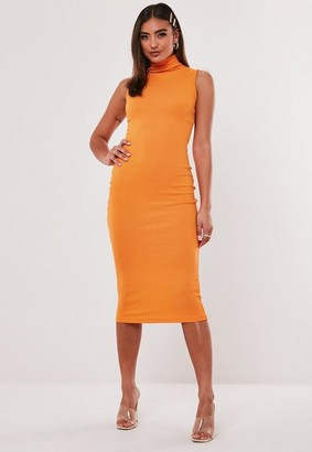 Missguided Lipscombe x Orange High Neck Rib Midaxi Dress
