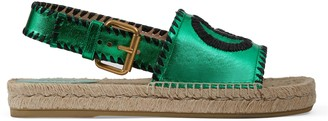 Gucci Metallic leather espadrille sandal