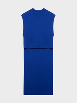 DKNY Sleeveless Merino Crew Neck With Extra Long Step Hem