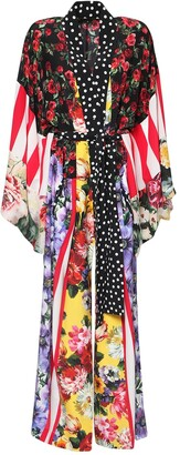 Dolce & Gabbana Patchwork Silk Crepe De Chine Caftan