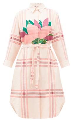 Kilometre Paris - Klong Chao Beach Floral-embroidered Cotton Dress - Womens - Pink Print