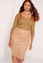 Missguided Plus Size Camel Skinny Ribbed Sweater
