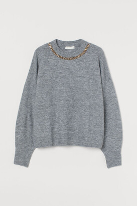 H&M Chain-detail Sweater - Gray