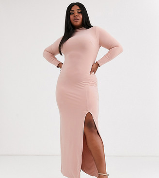 Club L London Plus high neck long sleeve maxi dress with high thigh split in pink