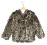 Adrienne Landau Girls' Hooded Fur Jacket
