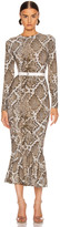 Norma Kamali Crew Fishtail Dress in Scale Python   FWRD