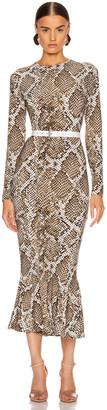 Norma Kamali Crew Fishtail Dress in Scale Python | FWRD