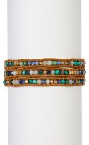 Chan Luu Leather & African Turquoise Beaded Wrap Bracelet