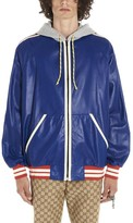 Gucci Contrasting Panelled Logo Printed Bomber Jacket