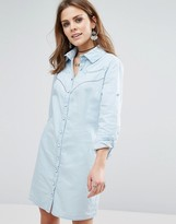 Liquorish Denim Long Sleeve Shirt Dress