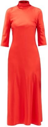 Galvan Margot High-neck Silk Dress - Red
