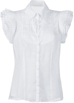 Catherine Malandrino White Pleated Sleeve Tuxedo Top