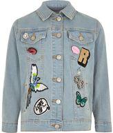River Island Girls Blue badged denim jacket