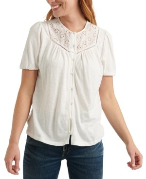 Lucky Brand Eyelet-Contrast Top