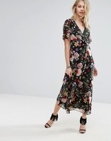 MANGO Floral Wrap Midi Dress