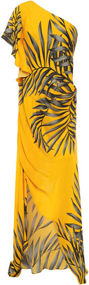 Johanna Ortiz Etimologis One-shoulder Draped Printed Silk-crepe Dress