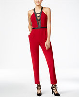 XOXO Juniors' Faux-Leather-Trim Halter Jumpsuit