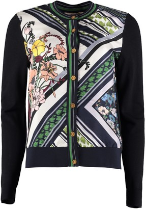 Tory Burch Silk Panel Cardigan