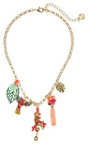 Betsey Johnson Tropical Pave Monkey Parrot Mixed Charm Frontal Necklace Necklace