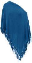 Minnie Rose F2639C16 Cotton Fringe Ruana In Denim Blue