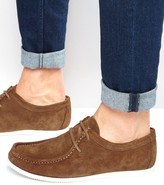 Asos Lace-Up Shoes In Tan Suede With White Sole