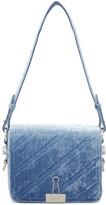 Off-White Blue Velvet Diagonal Binder Clip Bag