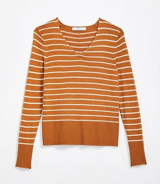 LOFT Petite Striped Rib Trim V-Neck Sweater