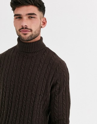 ASOS DESIGN lambswool cable knit roll neck sweater in brown
