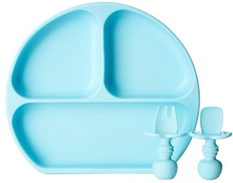 Bumkins Silicone Suction Plate and Chewtensils Set (Blue) Accessories Travel