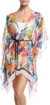 Milly Banana Leaf Chiffon Caftan Coverup, Multicolor