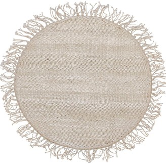 Cocco Round Handmade Jute Rug W/ Fringes