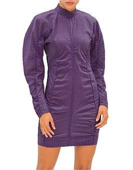 Ganni Seersucker Long Sleeved Check Dress