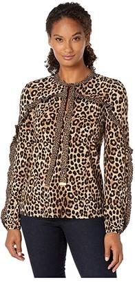 MICHAEL Michael Kors Ruffle Cheetah Blouse (Dark Camel) Women's Clothing