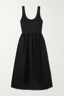 &Daughter Marie Pleated Linen Midi Dress - Black