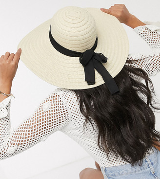 South Beach Exclusive straw wide brim hat with black band