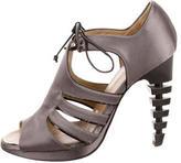 Proenza Schouler Satin Grey Cut-Out Sandals