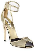 Diane von Furstenberg Rae Mesh & Metallic Leather Ankle-Strap Sandals