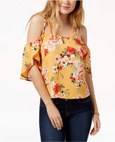 7 Sisters Juniors' Printed Off-The-Shoulder Blouse