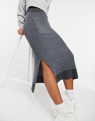 NATIVE YOUTH midi skirt in grey