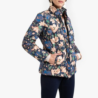 Anne Weyburn Floral Print Padded Jacket with Stain-Resistant Finish