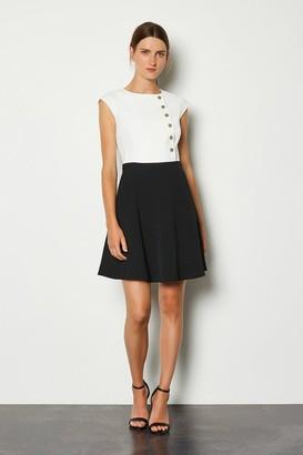 Karen Millen Soft Colour Block Popper Dress