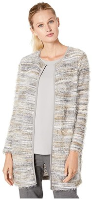 Calvin Klein Long Brushed Knit Cardigan (Grey Multi) Women's Clothing
