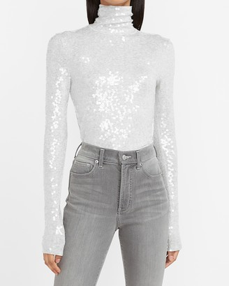 Express Sequin Mock Neck Long Sleeve Tee