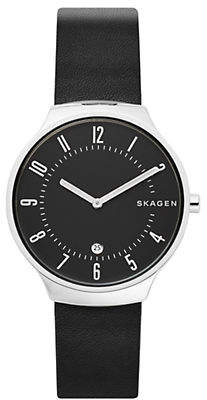 Skagen Mens Two-Hand Grenen Black Leather Watch