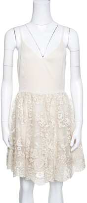 Alice + Olivia Beige Antique Gold Lace Detail Julianne Ballerina Dress M