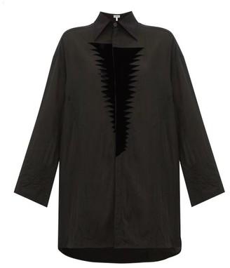 Loewe Flocked Patch Crinkle Blouse - Womens - Black