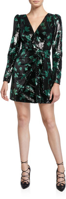 Self-Portrait Sequined Leaf Long-Sleeve Mini Dress