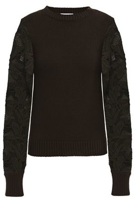 See by Chloe Guipure Lace-paneled Ribbed Cotton Sweater