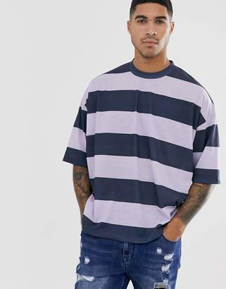 Asos Design DESIGN oversized wide stripe t-shirt in navy and lilac-Multi